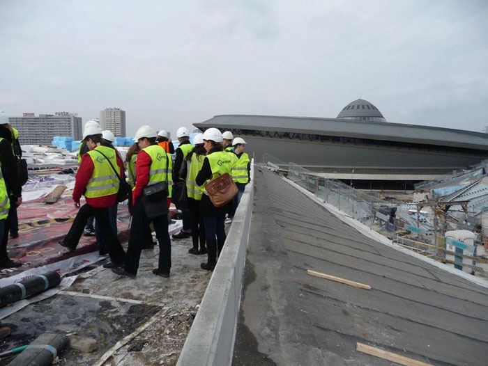 studenci WST na budowie MIĘDZYNARODOWEGO CENTRUM KONGRESOWEGO w Katowicach