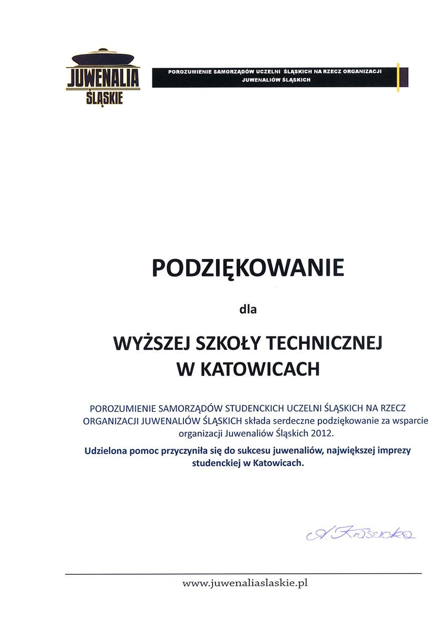 podziekowanie - juwenalia śląskie 2012