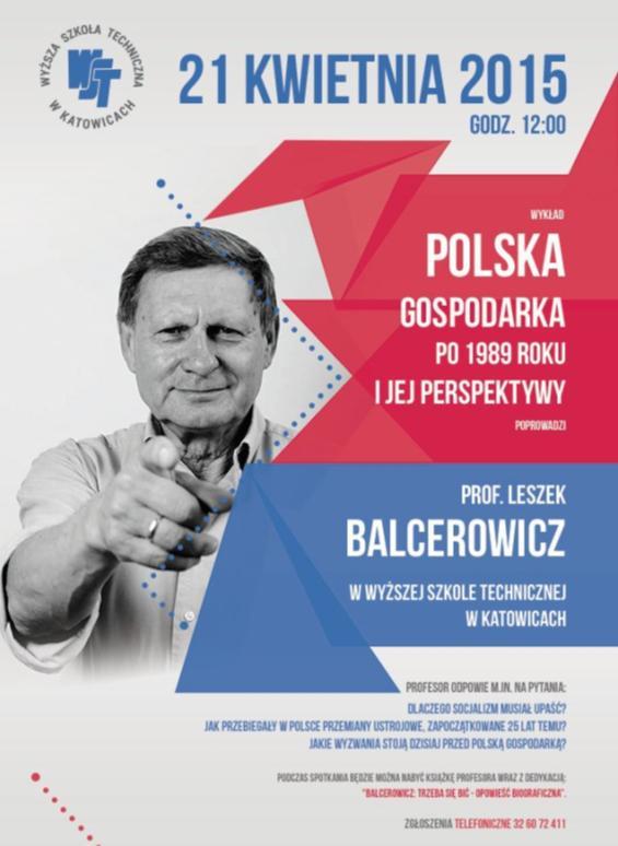 Zaproszenie na wykład gościnny prof. Leszka Balcerowicza