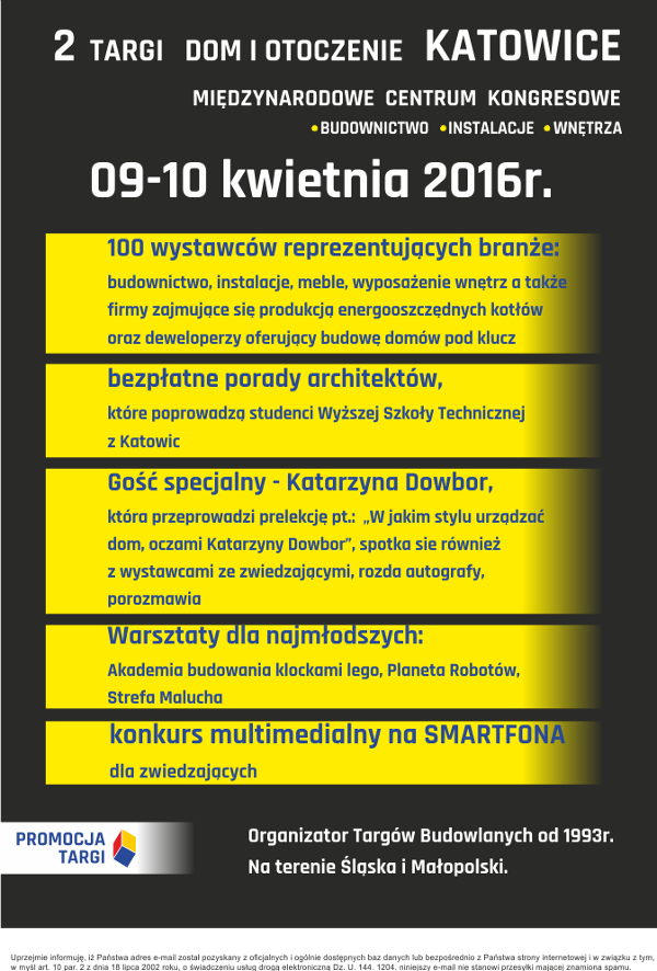 TARGI DOM I OTOCZENIE 09-10.04.2016 Budownictwo, Instalacje, Wnętrza  w KATOWICACH