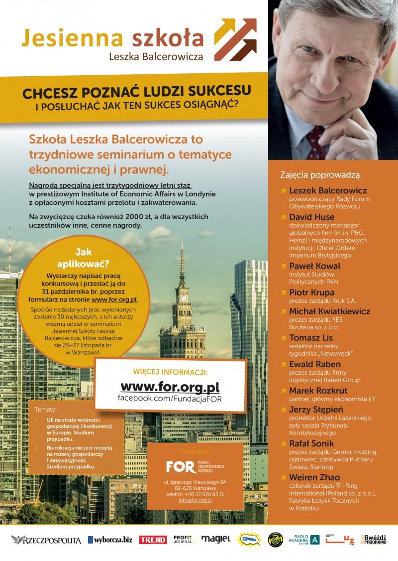 Jesienna Szkoła Leszka Balcerowicza - ogólnopolski konkurs dla młodzieży akademickiej