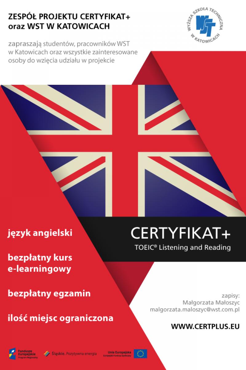 Bezpłatny kurs, bezpłatny certyfikat TOEIC w WST