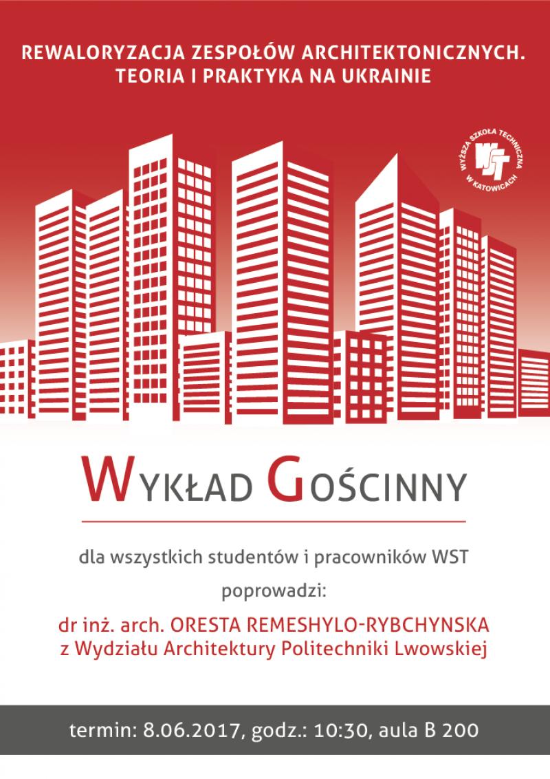 Zapraszamy na wykład gościnny pani dr inż. architekt Orestry Remeshylo - Rybchynskiej