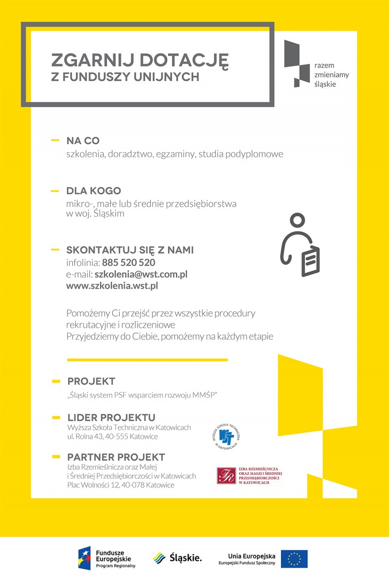 Zaproszenie na Spotkanie Informacyjne dotyczące dofinansowania do 80% szkoleń oraz usług doradczych dla firm MMŚP