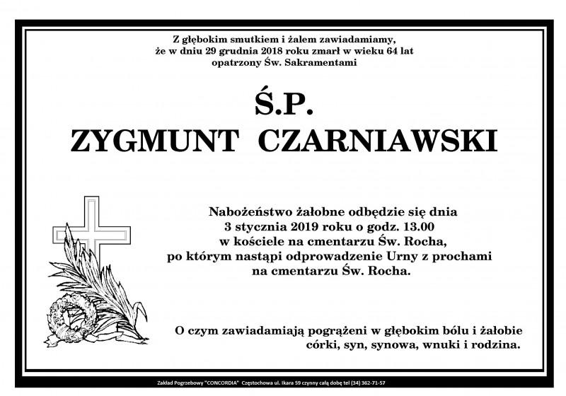 Z przykrością informujemy o śmierci naszego pracownika dydaktycznego mgr inż. Zygmunta Czarniawskiego.