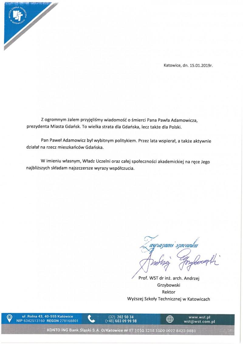 Kondolencje Pana Rektora w związku ze śmiercią Pana Pawła Adamowicza, Prezydenta Miasta Gdańsk.