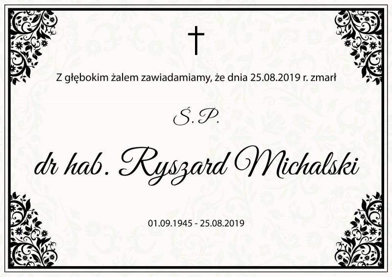 Zmarł dr hab. Ryszard Michalski profesor WST
