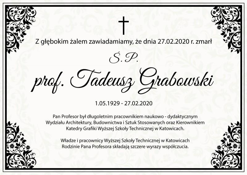 Zmarł Profesor Tadeusz Grabowski