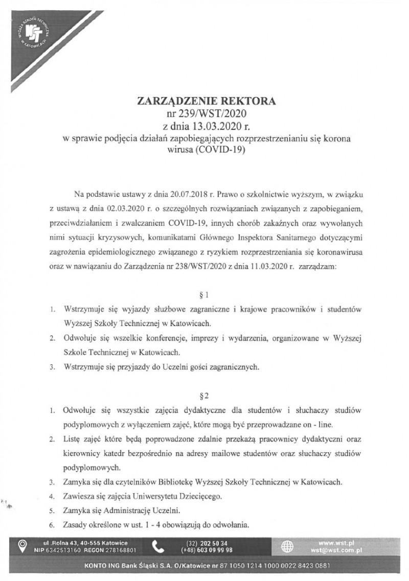 Zarządzenie Rektora ws. podjęcia działań zapobiegających rozprzestrzenianiu się koronawirusa