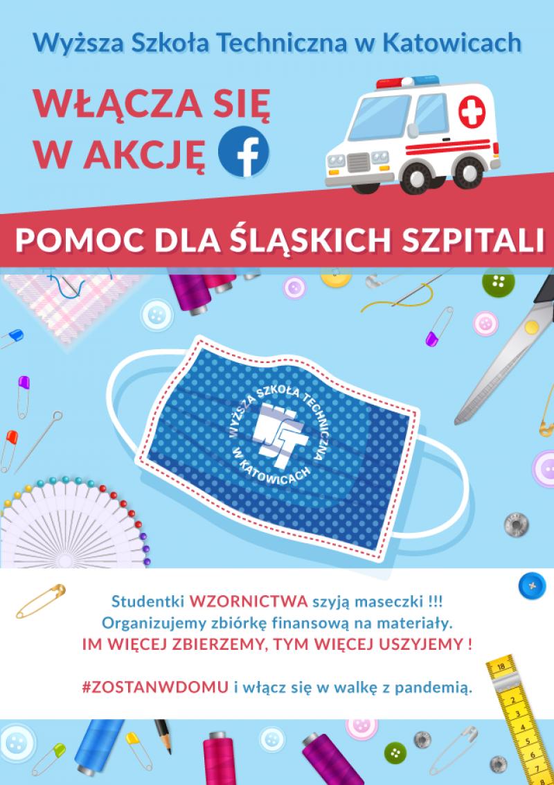 Szyjemy maseczki. Wyższa Szkoła Techniczna w Katowicach włącza się w akcję FB POMOC DLA ŚLĄSKICH SZPITALI !!!