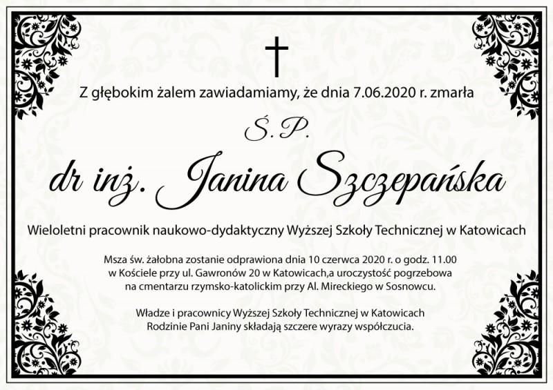 Zmarła dr inż. Janina Szczepańska