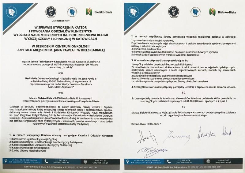 Współpracapomiędzy Wyższą Szkołą Techniczną w Katowicach a Beskidzkim Centrum Onkologii w Bielsku-Białej.