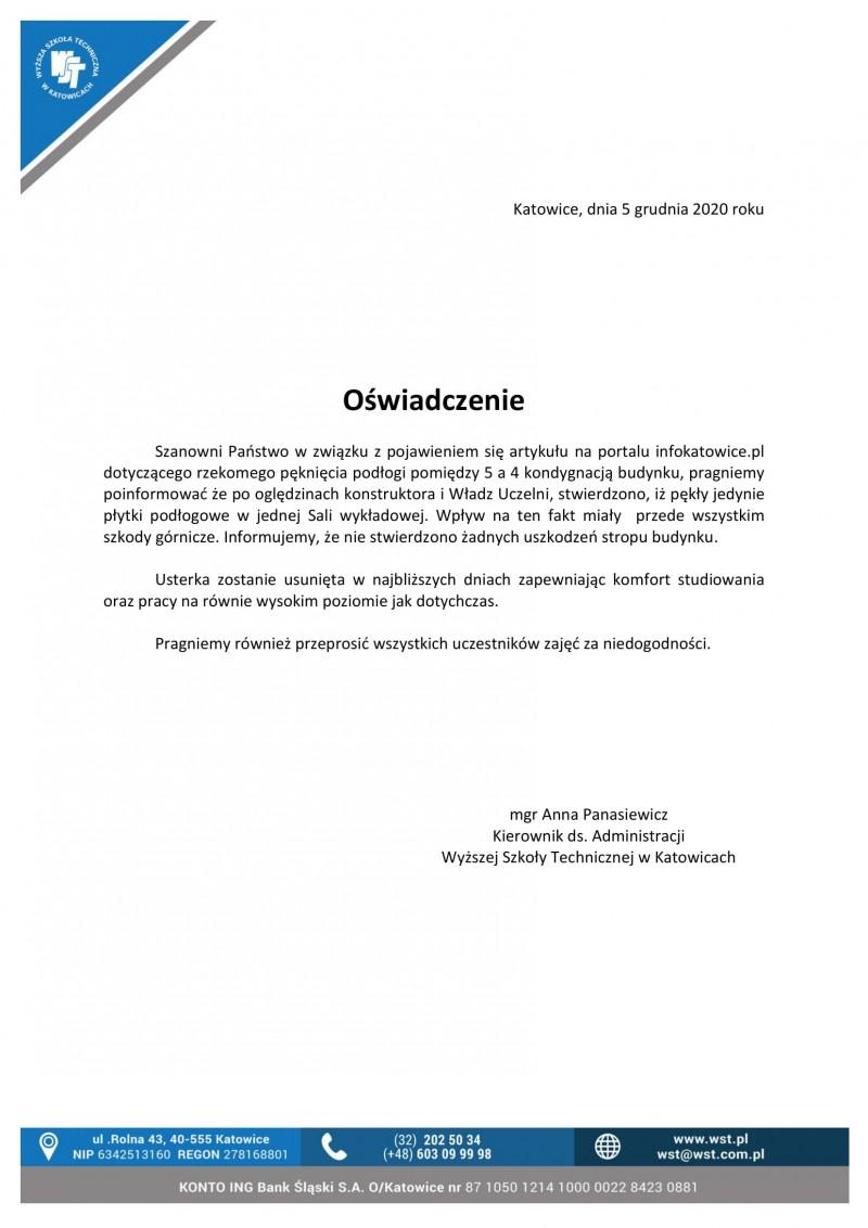 Oświadczenie ws. artykułu na portalu infokatowica.pl