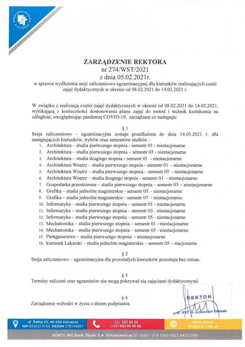 Zarządzenie Rektora nr 274/WST/2021