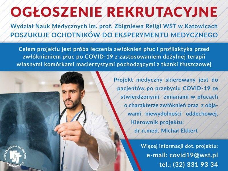 Poszukiwana osób do leczenia powikłań po COVID-19